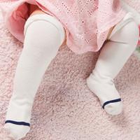 Wholesale Korean Baby Wholesaler - Wholesale- Winter 2017 Warm Baby Girls Long Socks 0-3 Years Old Cotton Socks Korean Striped Solid Color Infant Baby Kids Thigh High Socks
