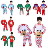 Wholesale Kids Santa Claus Pajamas - Baby Boys Girls Christmas Pajamas Children Sleepwear Boys Nightwear Christmas Santa Claus Toddler Baby Pyjamas 17 Styles Kids Clothing