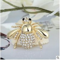 Wholesale full corsages - Cute little bee animal brooches pins full of rhinestone crystal diamond brooch corsage for men and women gift