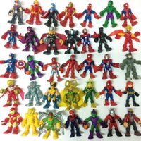 Compra Squadra Di Eroe Meravigliosa-Casuale Pick 30PCS Hasbro Playskool Marvel Super Hero Squad Robin Spiderman Ironman Electro Kid giocattolo all'ingrosso