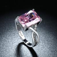 Wholesale Pink Cubic Zirconia Heart Ring - Fashion Luxury Lady Eight Heart Eight Arrows Wedding Ring Women Pink Zircon Engagement Ring Fashion Wedding Bride Jewelry
