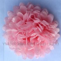 Wholesale Hand Tissues - Wholesale-10 inch (25cm) 3 pcs lot Wedding colorful tissue paper pompom party decoration Light Pink hand made paper flower ball