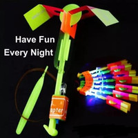 Wholesale Slingshot Helicopter Led Lights - Amazing LED light Flying Arrow Helicopter for Sports Funny Slingshot birthday party supplies Kids' Gift Novelty Children Flying Toys