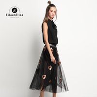 Wholesale Blouse Hearts - Women 2 Piece Set Skirt and Top Famous Brand Women Blouses and Heart Skirt Black Blouse Short Sleeve