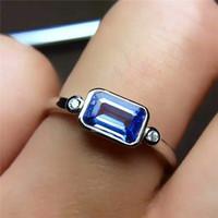 anillos de tanzanita oro 18k al por mayor-Nuevo 925 Steril Siilver 18 K chapado en oro con anillo tanzanita natural para la joyería de moda del banquete de boda de las mujeres