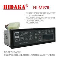 Wholesale Clock 12v - Wholesale-HIDAKA 12V 24V Excavator Radio Audio Standard 1din size with Bluetooth for Contruction Machine Komatsu Kobelco HITACHI Sumitomo