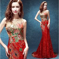 Wholesale Sequins Embroidered Evening Dress - 2017 New Real Image Jewel Mermaid Embroidered Sequin China Style Formal Evening Dress Floor-Length Lace-Up Back Luxury Runway Prom Dress