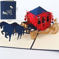 Wholesale Christmas Laser Cut Greeting Cards - Wedding lnvitations love carriage 3D laser cut paper cutting Greeting Pop Up Kirigami Card Custom postcards Wishes Gifts