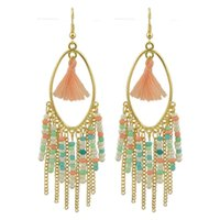 Pendientes De Colores De Cadena Larga Baratos-Bohemian Style Indian Jewelry Colorful Beads Gold-Color Chain Tassel Long Drop Pendientes para Mujeres