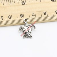 Wholesale Tibetan Silver Tortoise Charms Pendants - Wholesale-20pcs Tibetan Silver Plated Turtle Tortoise Charms Pendants for Bracelet Necklace Jewelry Making DIY Handmade Craft 18X15mm