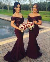 Wholesale Modern Sequined Short Bridesmaid Dresses - 2017 Elegant Off The Shoulder Satin Floor Length Bridesmaid Dresses Sparkling Sequins Top Ruffle Mermaid Formal Prom Evening Dresses Custom