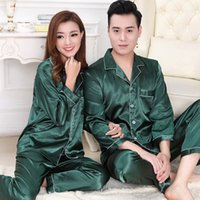 Wholesale Night Apparel - Lovers Silk Pajamas Set Couples Long Sleeve Underwear Solid Color Home Apparel Lingerie Men Women Sleepwear Night Gown