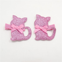 cheveux feutrés faits à la main achat en gros de-10pairs / lot Handmade Felt Cat Hair Clip Rose Glitter Animaux Barrettes Enfant Festive Cartoon Sweet Kitty Hairpin Head Wear
