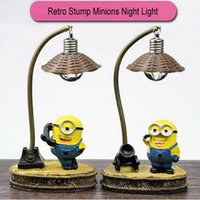 Wholesale Wholesale Minion Lamps - Retro Stump Resin Minions LED Flashing Night Lights Small Lamp Night Club Bars Party Decoration Christmas Colorful Lamps Home Decoration