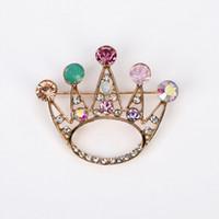 Wholesale Gold Rhinestone Brooch Buckle - Crown Crystal Brooch Luxurious Flowers Broches For Woman Collar Pins Buckle Broche Relogio Femininos Wedding Dress #BR004