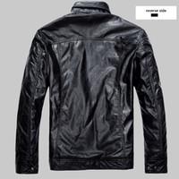 ingrosso giacche moto nero marrone-Moda uomo giacca in pelle PU nero rosso marrone solido Mens Trend Slim Fit giovanile moto giacca in pelle scamosciata e cappotto maschile