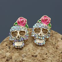 Retro Skull Stud Brincos Imitation Pink Bow Rose Flower Gold Color CZ Skull Pierced Earrings para mulheres Girl Gothic Punk Jewelry