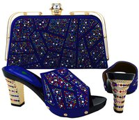 Wholesale Ladies Royal Blue Wedding Shoes - wholesale Most Popular Italian Royal Blue Shoes Matching Bag Set Fashion Lady Shoes 2017 Heels With Stone Free Shipping BCH-19 Royal blue
