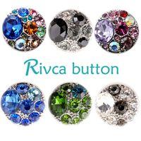 Wholesale European Rhinestone Green - Rivca Hot Wholesale Newest Design Ginger Snap Button Bracelet NOOSA Chunks Leather Bracelets For Women Fit 18mm Rivca Snap Jewelry D00407