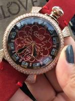 Wholesale Gaga Watch Diamond - GaGa Fashion brand womens Quartz watches Luxury 18K Rose gold diamonds bezel Red Leather Woman Casual wristwatch Girl gift wrist watch AAA