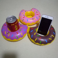 Wholesale Inflatable Sofa Kids - Inflatable Donut Water Float Phone Drink Holder PVC Summer Cartoon Swimming Toys for Adult Kids Outdoor