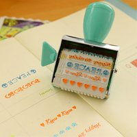 Wholesale Diy Handmade Photo Album - Wholesale- 1set Kids Cute English letters roller Stamps sets with inkpad for DIY Handmade Scrapbook Photo Album, students Stamps and inkpad