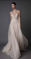 Wholesale Dress Low Back Long Sleeves - sexy blush evening dresses 2017 muse berta bridal spagetti deep sweetheart heavily embellished bodice tulle skirt open low back