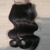 Wholesale Handtied Brazilian Hair - Warehouse Brazilian lace closure human hair silk closure 4*4inch body wave handtied top closure 10-16inch dyeable fast shipping