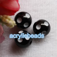 10PCS Prix de gros 24MM Grands Chunky Acrylique Gumball Polka Dot Round Resin Beads Plastic Bubblegum Balls Jewelry Making DIY
