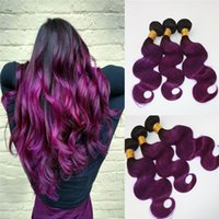 Two Tone Omber Hair Extensions Weaves 8A peruvian Virgin Hair Body Wave Bundles Deal # 1B / Purple Real Remy Hair Weft Extensions 100g
