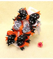 ingrosso barrette gialle-2017 Halloween Party Barrettes Ragazze Bow Knot Hair Clips Halloween Hair Pins Giallo e nero Barrettes capelli Halloween Costumi del partito