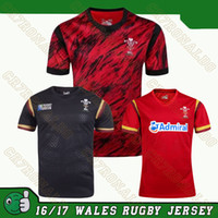 Venda por atacado 2017 Wales Sevens Rugby jerseys 2016-2017 Red Camouflage Sports 7s Jersey 2015-16 camisa home away world cup Frete grátis S-3XL