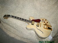 Wholesale Oem Jazz Guitars - Natural Flame Top Classic 335 Jazz Guitar with Tremolo Gold Hardware OEM Musical instruments