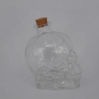 Wholesale Crystal Juice - Crystal head vodka skull bottle 750ml transparent clear wine glass bottle with cork high quality skull e liquid juice bottle