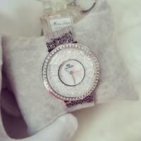 женщины смотрят большие циферблаты оптовых-Горячие продажи женщин часы повелительницы горный хрусталь алмаз платье часы из нержавеющей стали большой циферблат наручные часы леди Кристалл часы элегантный бренд