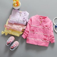 Wholesale Purple Lace Jackets - 4 Colors Kids Girls Lace Jackets 2017 Spring Style Baby Girl Full Sleeve Bow Coats Girls Cardigan Children Outwear Clothing B165