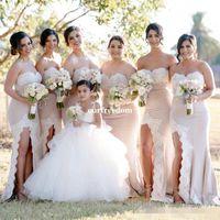 Wholesale corset dress slit - Elegant Long Formal Dresses For Women 2017 Applique Sweetheart Mermaid Side Slit Corset Bridesmaid Dresses Zipper Up