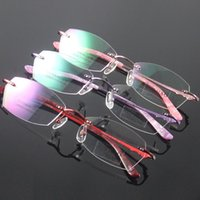 Wholesale Demo Lenses - Fashion Glasses Eyewear Eyeglasses for Women Rimless Frame Pure Titanium Spectacles Reading Demo Clear Lenses Light Comfort