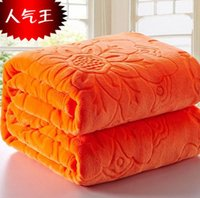 Wholesale Thick Fleece Blanket Ship - King Size 200x230cm Orange Thick Warm Embossed Blanket Solid Coral Fleece Flower Blankets Throw on Bed sofa car Free Shipping