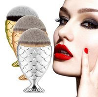Wholesale Wholesale Hats Makeup - Mermaid Shape makeup brush 5 Colors Fish Scale Make up Brush Powder Blush Foundation Cosmetic Brushes Tool with hat protecter DHL