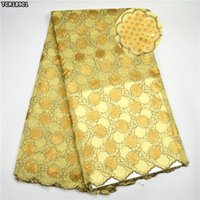 Wholesale Swiss Voile Lace Yellow - 2017 High Quality Cotton Swiss dry Lace Yellow Stones Lace Fabric Classical Design African Voile Swiss Lace Fabric For Clothes TCR189