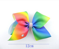 Wholesale Pageant Hair Bows - 20pcs Newests 12cm Pastel flora ombre Rainbow ribbon ABC hair bows clips with Rhinestone Cheerleader Pageant Hair Accessories HD3487