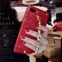 Wholesale Iphone Case Cover Chain - for iphone 6 6s 7 8 plus Luxury Pretty Cute Diamond leopard bracelet chain red black glitter soft phone case cover