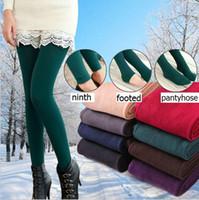 Wholesale Bamboo Footless Leggings - Winter Women Bamboo Carbon Fiber Double Thermal Warm Tights Footless Pants Leggings For Women Warm Winter Faux Velvet Legging