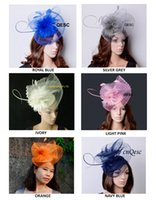 Wholesale Sinamay Hat Kentucky - NEW ARRIVAL.6 COLORS large sinamay crin fascinator hat with Feathers for kentucky derby,wedding,church,races,party.