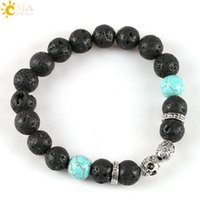 Wholesale Turquoise Rock Beads - CSJA Fashion Black Lava Rocks Blue Turquoise Stone Bead Strand Bracelet Anti-Silver Buddha Leopard Owl Skull Helmet Women Men Jewelry E120