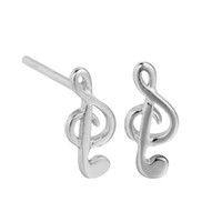 Wholesale Music Note Stud - 5 pairs lot Charm 925 Sterling Silver Small Treble Clef Music Note Sign Stud Earrings for Women Hot Sale Jewelry Girls Gift