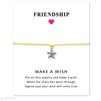 Wholesale Just Star Wholesale - Silver Tone Just For You Star Charm Bracelets Bangles Women Girls Adjustable Friendship Statement Jewelry With Card