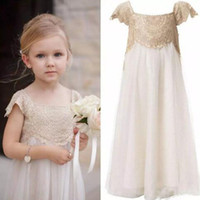 Wholesale Flowergirl Wear - Cute Flower Girls Dresses for Weddings Lace Top Tulle Skirt Flowergirl Dresses Capped Short Sleeves Country Style Wedding Party Kids Wear