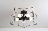 carvalhos venda por atacado-Nordic simplicity ferro E27 lâmpada do teto Americano industrial pequeno quarto sala de estar restaurante Criativo LED luz de teto Pentagrama